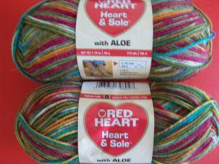 red heart heart sole wool blend sock yarn razzle dazzle