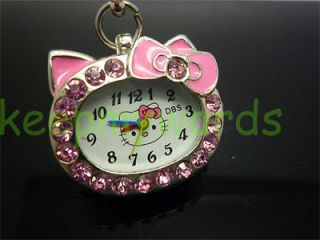 Hello Kitty Pink Crystal Stone Necklace Pendant Pocket Watch & Free