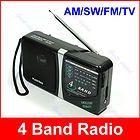 Portable AM/FM/SW/TV 4 Band Radio Receiver KK 204 Black