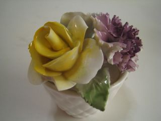 Vintage RADNOR, England, Bone China, Pottery Rose/Flowers Figurine