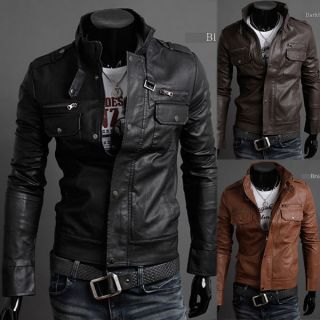NWT Mens Slim Top Designed Sexy PU Leather Short Jacket Coat 3color