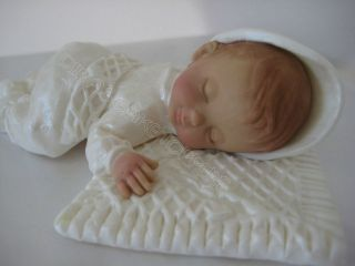 BABY CAKE TOPPER Baptism Christening gown lace pearl white favor