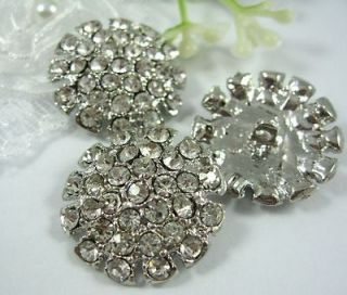 Big Sparkling Clear Crystal/Rhinestone Silver Buttons~Jacket/Coat N071