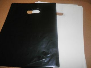 12 WHITE GLOSSY and GLOSSY BLACK Low Density Plastic Merchandise Bags
