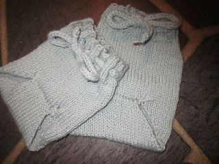 Pair Baby Diaper Cover Soaker Pants Woolies Hand Knit Wool Newborn