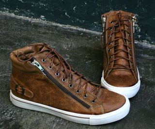 mens high top fashion shoes double zipper ss020 brown 9