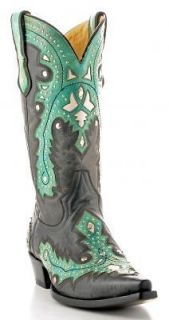 Corral Mens Leather Cowboy Boots Black/Green Overlay w/ Studs G1037