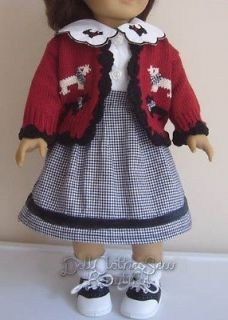 FREE SHIP 18 Inch American Girl DOLL CLOTHES Scotty Dog Skirt, Sweater