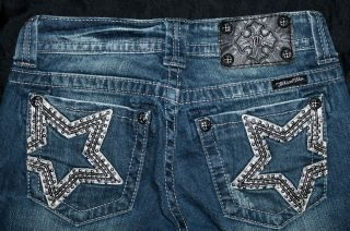 112 miss me jeans silver star boot cut