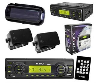 New In Dash Boat Marine  USB Radio w/ 2 Black Box Waterproof