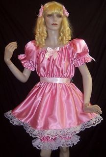 adult sissy baby lil girl style satin party pageant dress