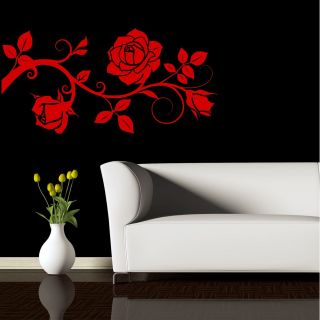 ROSE BUD PETALS BRANCH FLOWERS WALL ART STICKER DECAL MURAL STENCIL