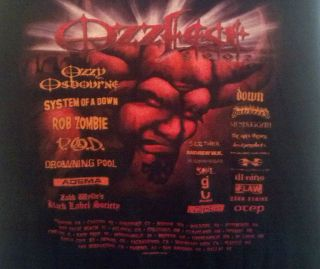 Ozzfest 2002 XL Black Tour Shirt Ozzy Rob Zombie P.o.d. Drowning Pool