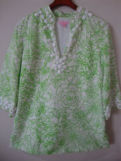 d6b2894190de2f ... Lilly Pulitzer Newbury Green Floral Beaded Tunic Top Womens 8 Lined ...