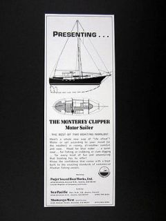 Boat Works Monterey Clipper Motor Sailer 1975 print Ad advertisement