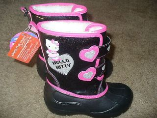 hello kitty girls black winter snow boots shoes size 3