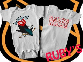 San Jose Sharks ONESIE JERSEY ROMPER BABY LOVES SHARKS   ADD NAME