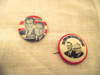 Small Political Presidential Campaign Button Pins; Nixon & Agnew