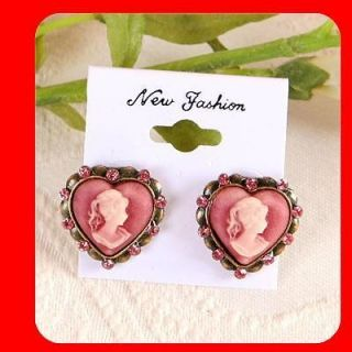 Pink Heart Vintage Antique Style Crystal Stud CAMEO Earrings m6