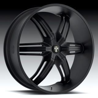 28 DUB Drone 6 Wheel SET 28x10 Matte Black Rims for RWD 6 LUG