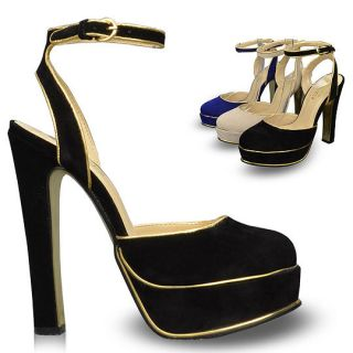 Ankle Strap Womens Shoes Platforms High Heels Sandals Pumps Multi