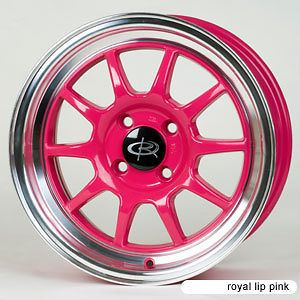 PINK RIMS WHEELS 16x7 +40 4x100 MINI COOPER CIVIC FIT INTEGRA XB XA