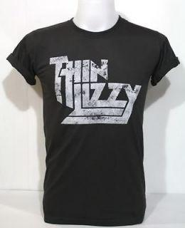 Thin Lizzy Vintage Print T Shirt 70 Irish Heavy Hard Metal Blue Rock