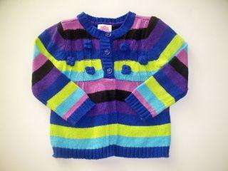 Baby Girls Purple Blue Green Black 3 Flower Buttons Cardigan Sweater