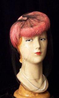 SAUCY Vintage Flamingo Pink Feathers Black Veil Tilt Hat~30s 40s WWII