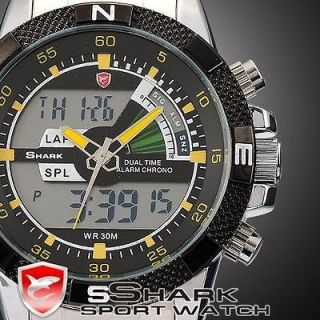 Newly listed Mens Black Dial SHARK LCD Date Day Analog Digital Steel