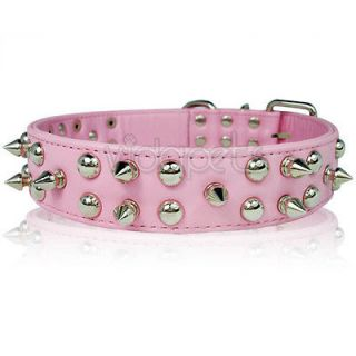 21 25 pink leather spiked studded dog collar large xl