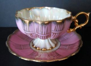 vintage royal sealy footed mauve quilted mold cup saucer time