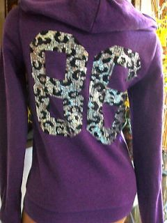 victoria secrets pink BLING LEOPARD HOODIE SEQUINS NWT SMALL
