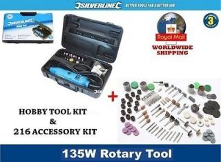 Hobby Rotary Multi Tool Mini Drill Kit + 216 Accessory Set fits Dremel