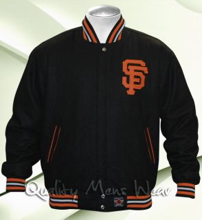 SAN FRANCISCO GIANTS Wool Jacket XL Black Orange Reversible Water