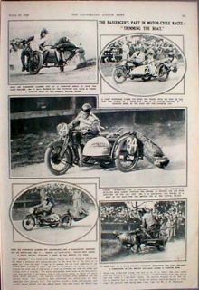1928 mototcycle side car racing trimming the boat time left
