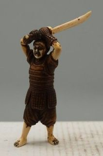 Japanese Hand Carved Wooden Netsuke   Samurai Warrior   Signed