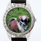 Cute dog Pet Animal Black Leather Quartz Wristwatch Gfit L9H