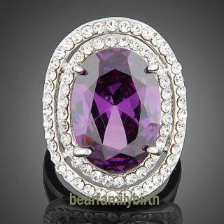 18K white gold GP Swarovski crystal & amethyst big finger ring 1775