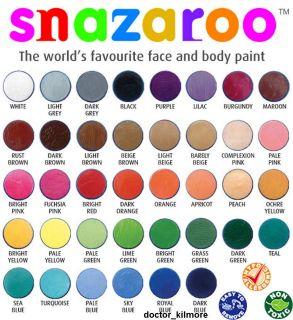 Snazaroo Face Body Paint Fancy Dress 18ml Make Up 30 Classic Colours