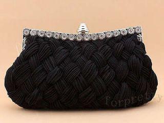 Satin Diamond Braided Bridal Clutch Evening Bag Handbag black BbzC
