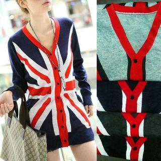 NEW Womens Knit Cardigan Sweater Jumper Dress Jacket Union Jack