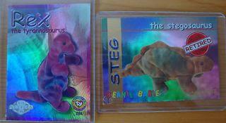 Rex the Tyrannosaurus & Steg the Stegosaurus 2 Beanie Babies Cards