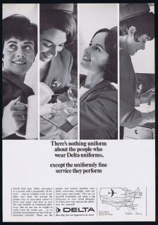 1967 Delta Airlines Stewardess Nothing Uniform Ad