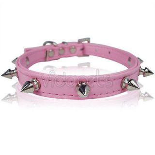 11 Pink Spiked Leather Dog Collar Small Spikes XS Fashion Collar