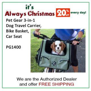 Pet Gear 3 in 1 Dog Travel Carrier, Bike Basket, Car Seat PG1400