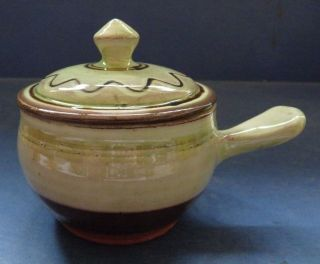 WINCHCOMBE POTTERY LIDDED BOWL WITH HANDLE BY SYDNEY TUSTIN