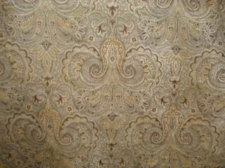 paisley grey cream tan brown gold soft chenille fabric time