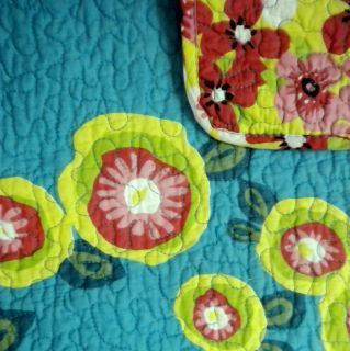 ROWLEY IBIZA BOLD FLORAL 3pc FULL/QUEEN QUILT SET TEAL PINK RED GREEN