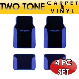 Two Tone Vinyl Trim Car Floor Mats in BLUE 4 PC Set Front & Rear
